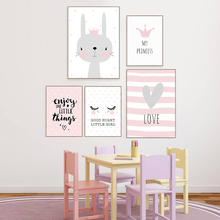 Cartoon Rabbit Paintings Wall Decor Nordic Poster Kids Room Posters And Prints Baby Rooms Nursery Art Unframed