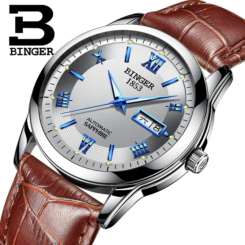 Switzerland watches men luxury brand Wristwatches BINGER luminous Mechanical Wristwatches leather strap Waterproof BG-0383-16 switzerland watches men luxury brand wristwatches binger luminous automatic self wind full stainless steel waterproof bg 0383 4