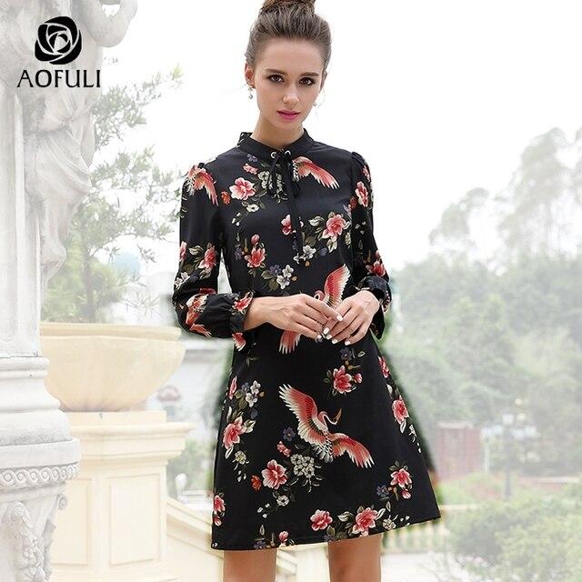 AOFULI M-L-XL Plus Size Bird Flowers Print Dresses For Women Fashion Brand  2018 Spring Long Sleeve Ribbon Bow Casual Dress 6253 2041130549ef