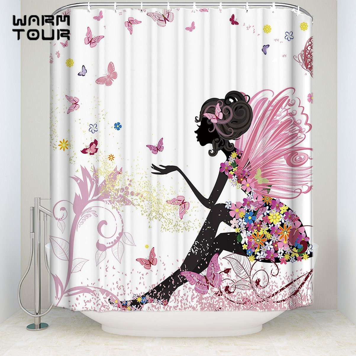 Us 16 23 30 Off Bath Shower Curtains Pink Flower Beauty Butterfly Fairy Mildew Resistant Bathroom Decor Sets With Hooks 72