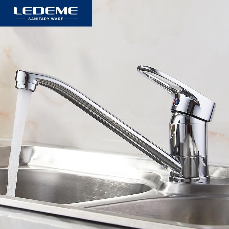 LEDEME Kitchen Faucet Pull Out Modern Polished Chrome Plated Single Handle Swivel Spout Vessel Sink Mixer Tap L4904