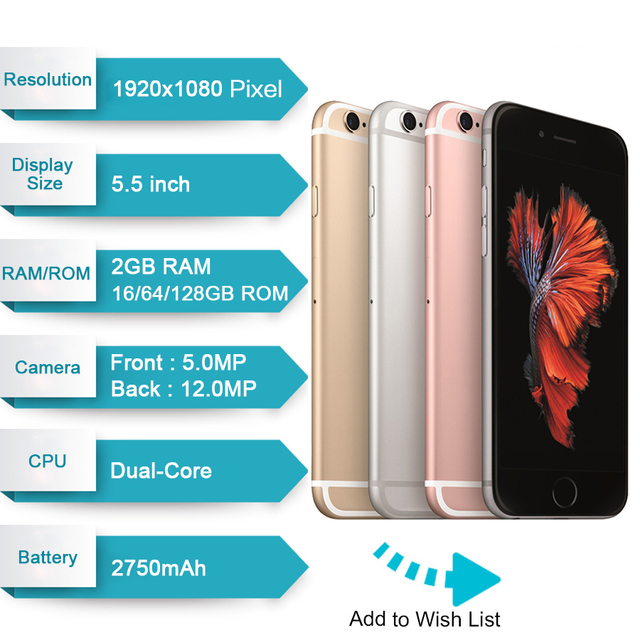 "Apple iPhone 6S Plus iOS Dual Core 2GB RAM 16/64/128GB ROM 5.5"" 12.0MP Camera LTE fingerprint Unlocked Mobile Phone iPhone 6S 1"