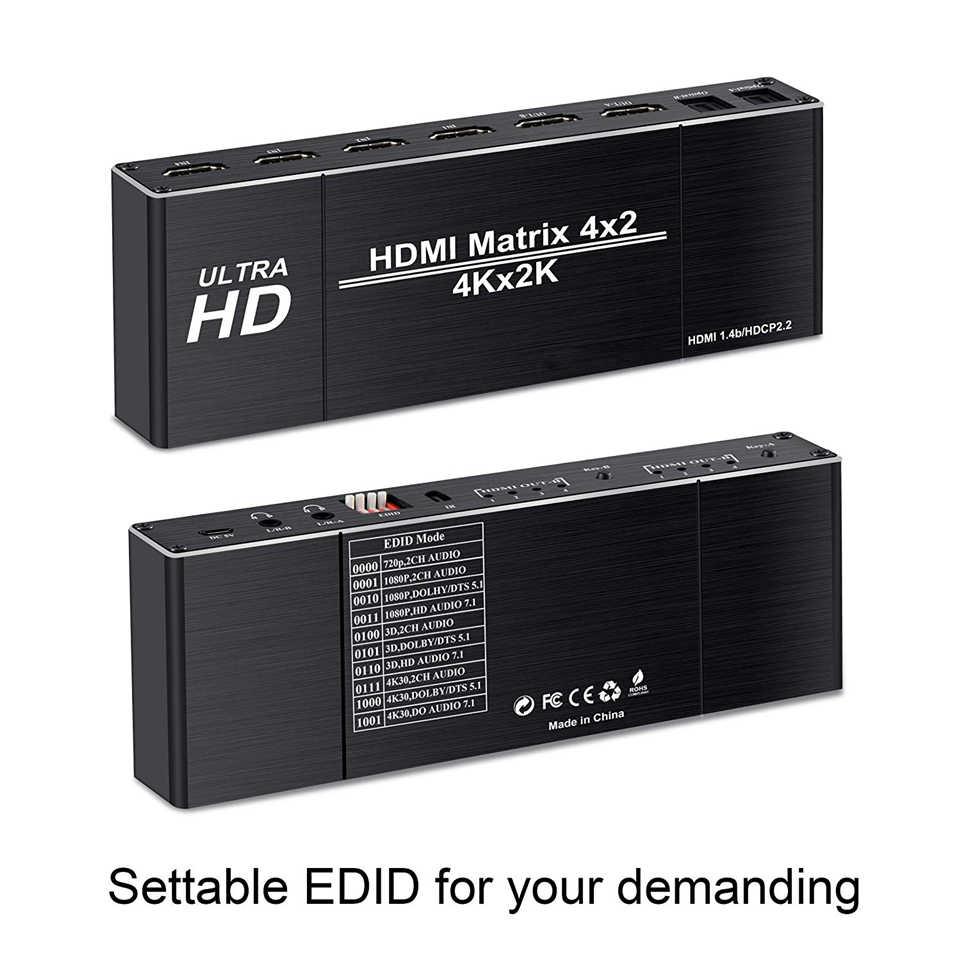 2020 4K Tốt Nhất 4X2 HDMI Ma Trận Chuyển Đổi Bộ Chia Switcher EDID Thiết Lập HDMI Switch 4X2 Với dual SPDIF & Quang Học TosLink HDMI Ma Trận