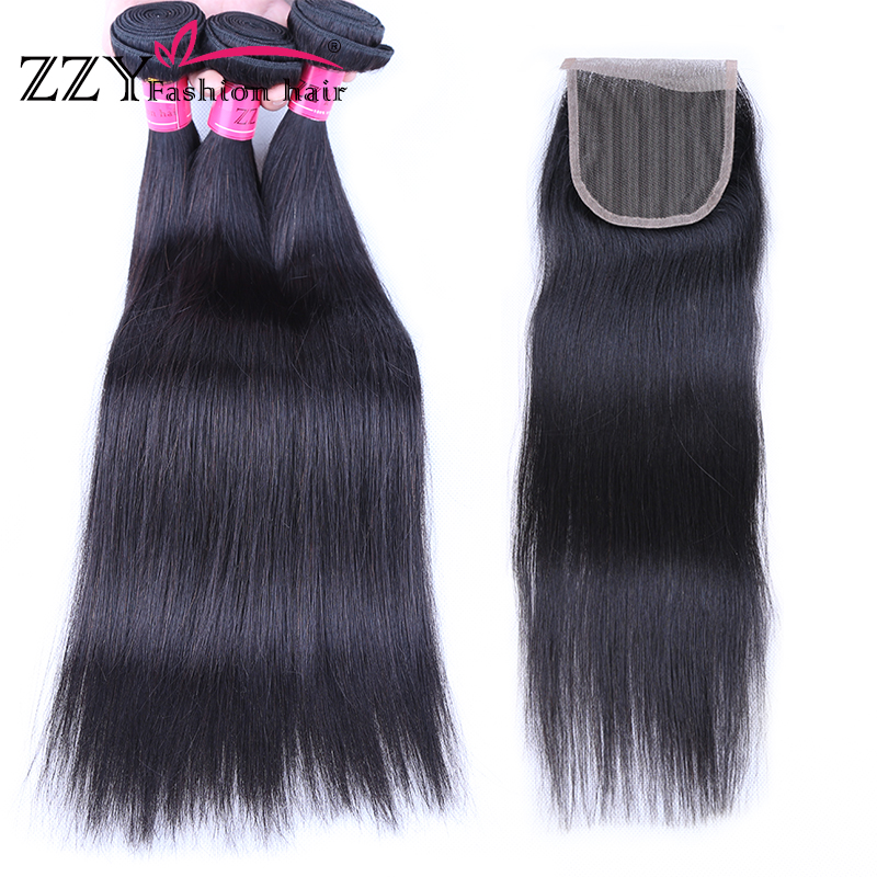 ZZY Fashion Brazilian Straight Human Hair 3 Bundles With Closure Straight Hair Bundles With Closure 8-26inch