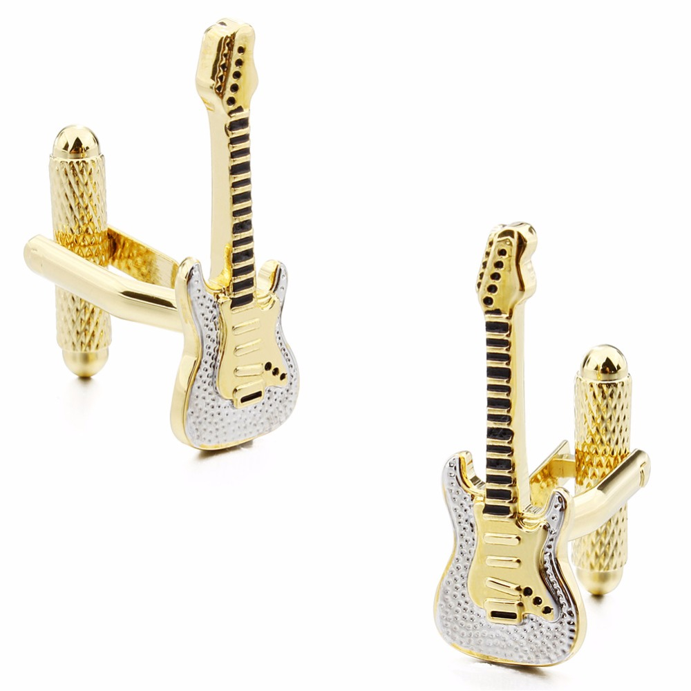 Musical Instrument Gold Plated with White Enamel Violin Man Shirt Cuff Links for Wedding Jewelry