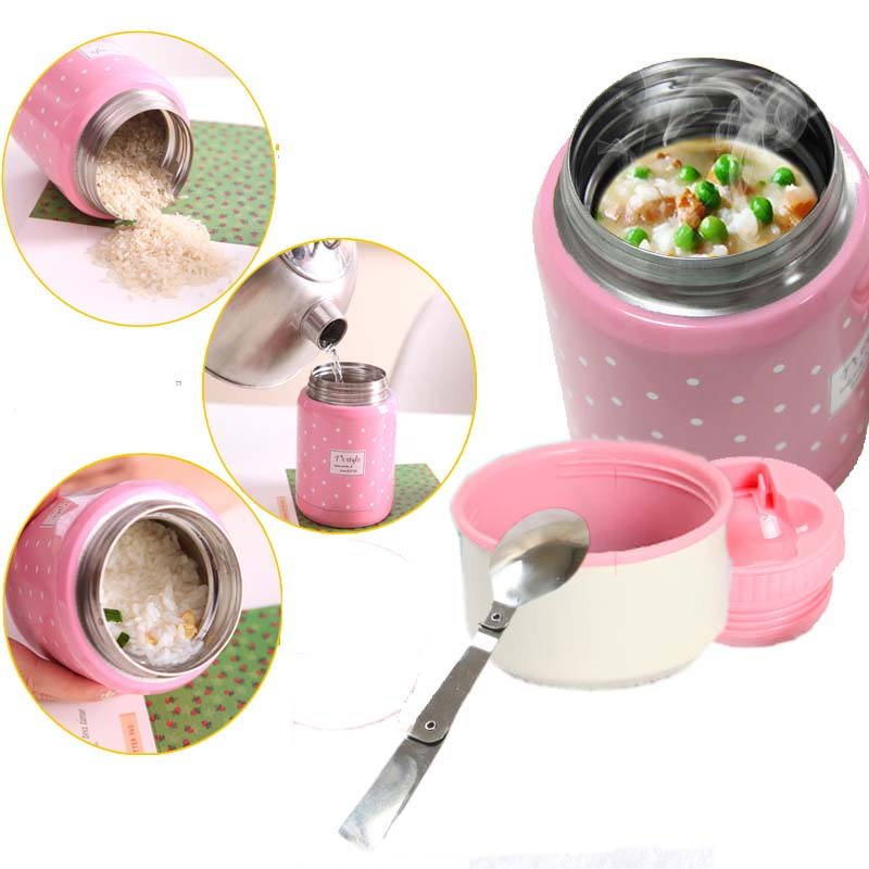 350ml thermos brush gift inox folding spoon thermal lunch box children termos colorful soup jar portable bag food container(China)