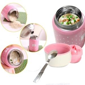 Image 1 - 350ml thermos inox cuillère pliante thermique boîte à déjeuner enfants termos coloré pot à soupe portable sac récipient alimentaire