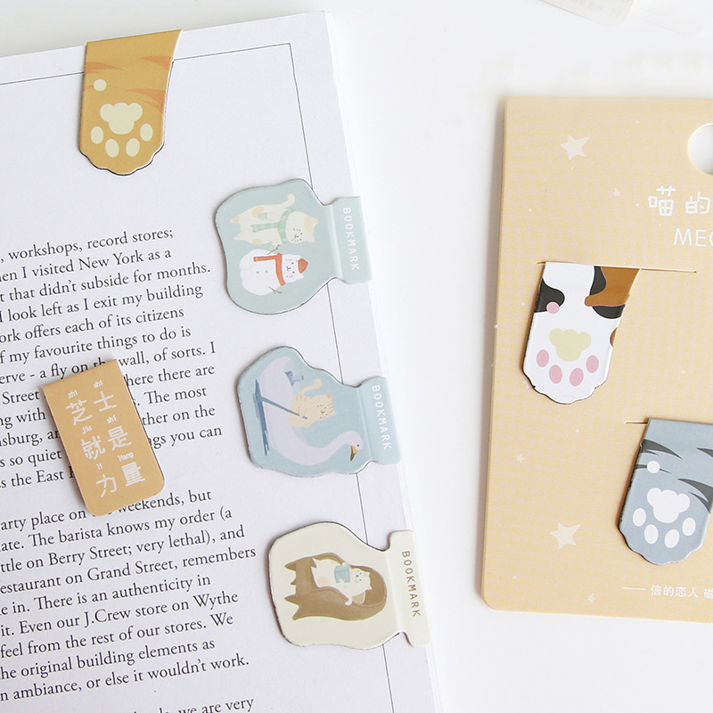 3Pcs Kawaii Milk Bookmarks Cute Cat Claw Bookmarks Novelty Magnetic Book Marks For Kids  Gifts School Office Supplies Stationery
