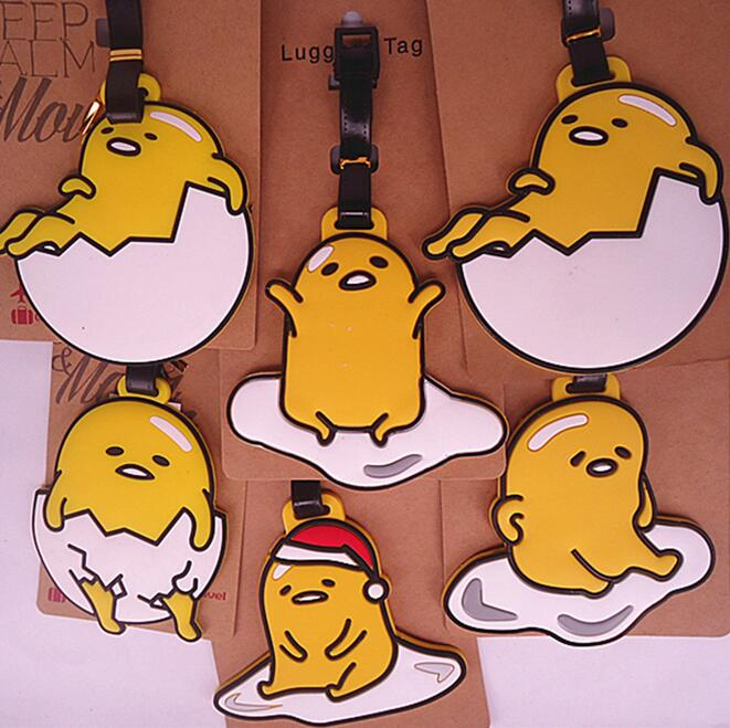 lovely Toy Yellow Egg Gudetama Luggage tag Travel Luggage Suitcase Baggage PVC luggage tags Travel Name Tag Action Toy