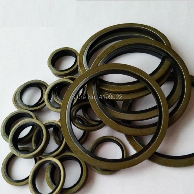20pcs 10pcs M5 M6 M8 M10 M12 M14 M16 To M30 High Pressure Hydraulic Pipe Seal Pad Rubber Metal Shim Seal Gasket NBR Metal Washer