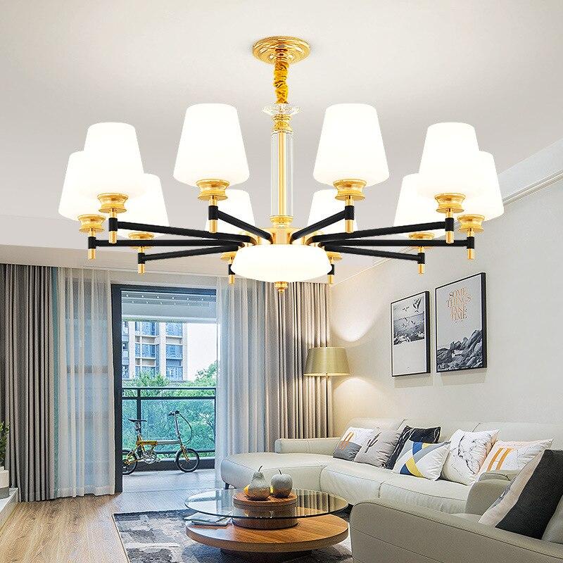 Modern minimalist crystal LED chandelier wrought iron restaurant hanging lights home bedroom fixtures glass living room lamp