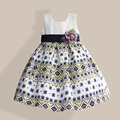 Squares Floral Girls Party Dress 3D Flower Yellow Belt Full Dresses for Girl Cotton Sleeveless Kids Clothes Party Dress 3-8T