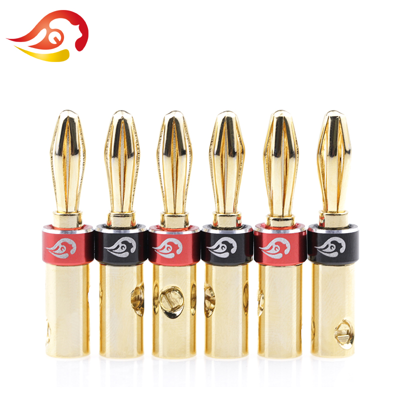 20 Pcs Gold Plated RCA Plug Locking Non Solder Plugs Connector  tail hole 10MM
