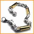 Fashion Jewelry Stainless Steel Bracelet Gold Slippy Solid Round Cylinder Links Chains Men Cuff Bracelets 18833