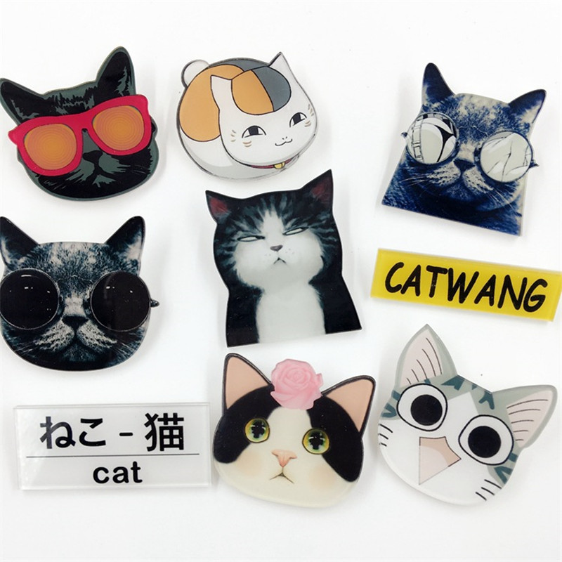 1 PCS Cartoon Cat Series Acrylic Badges Kawaii Badge Icons On The Backpack Badges For Clothes Pin Brooch