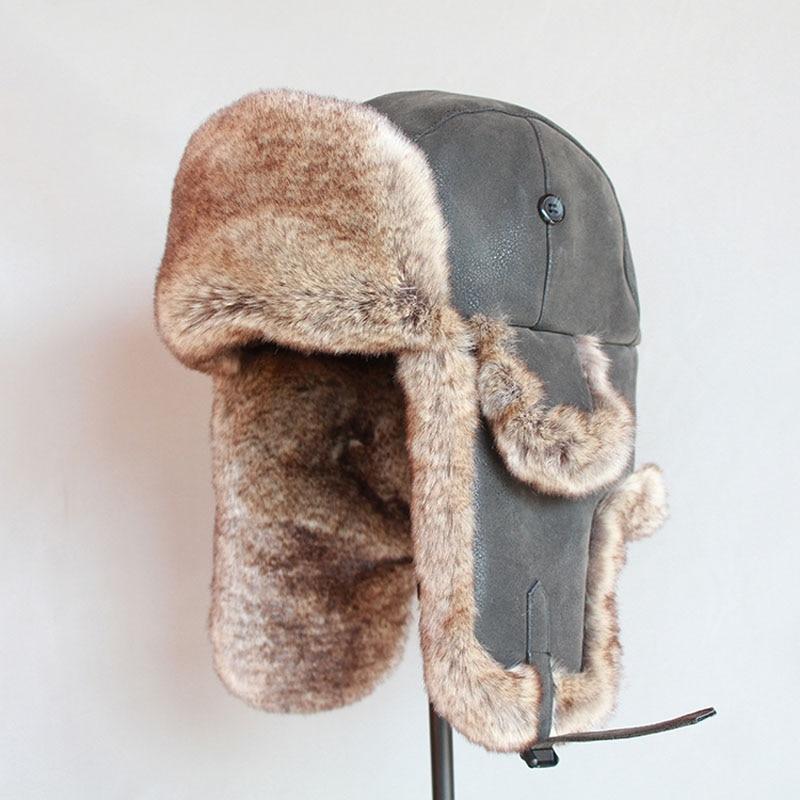 Bomber Hats Winter Men Warm Russian Ushanka Hat with Ear Flap Pu Leather  Fur Trapper Cap  Earflap 2