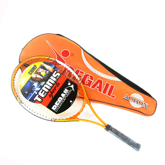 1 Pcs Regail Sports Tennis Racket Aluminum Alloy Adult Racquet with Racquet Bag for Beginners Tennis Training racket Orange
