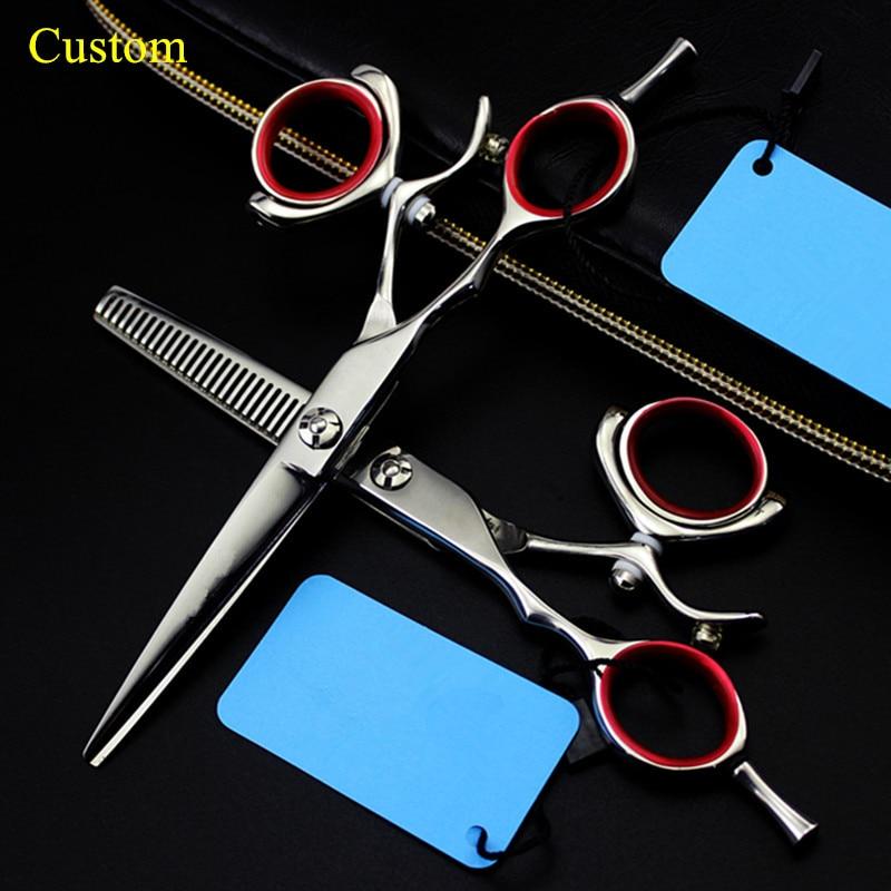 Custom Professional Left Handed 6 Inch Rotation Hair Scissors Thinning Makas Haircut Shears Cutting Barber Hairdressing Scissors