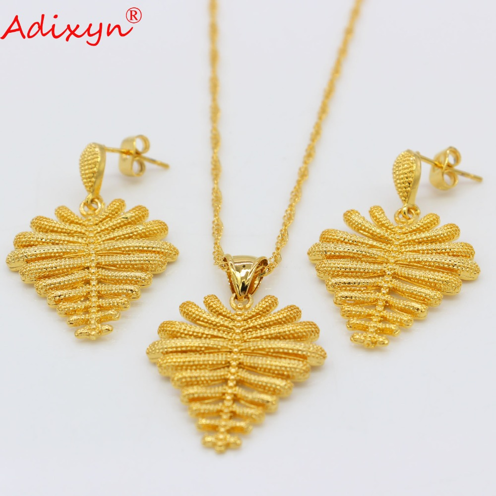 Adixyn TREE Earrings/Necklaces/Pendant Jewelry sets for Women Gold Color African/Hawaii Island Marshall Jewellery Gifts N09056