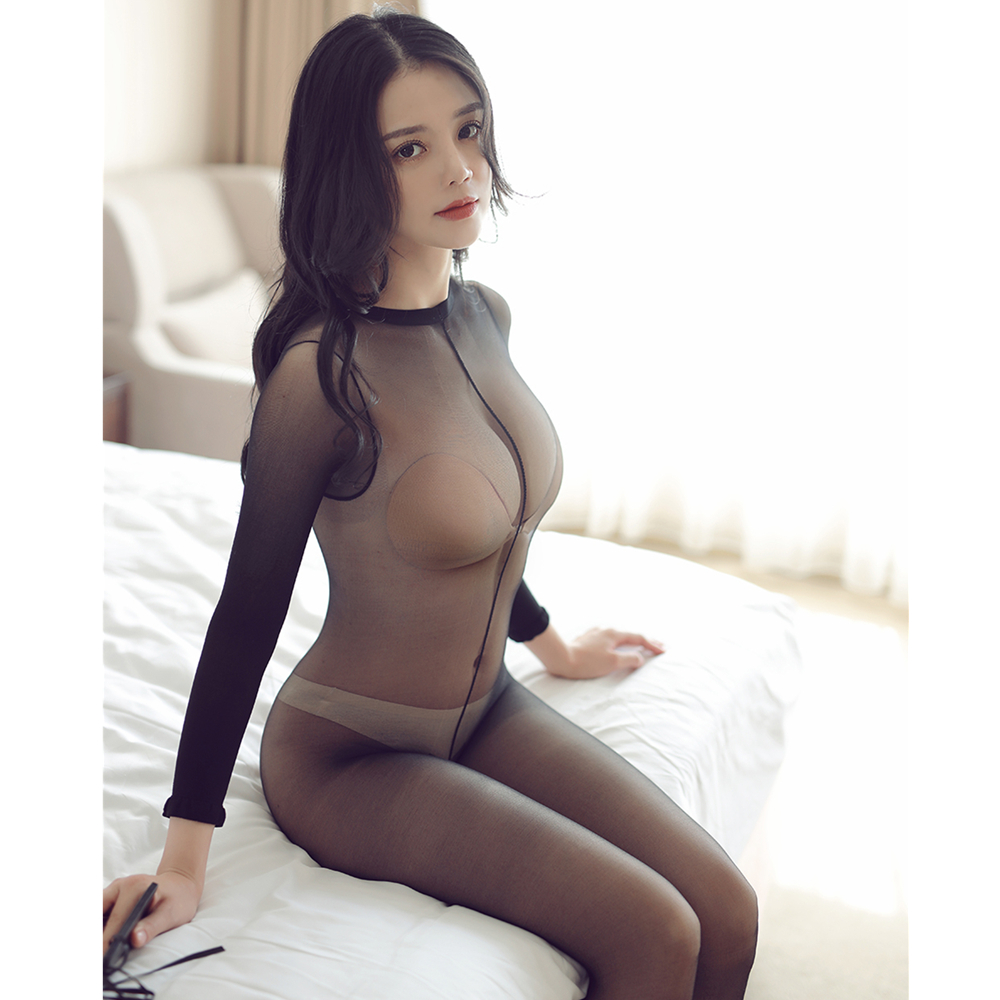 Women Crotchless Sheer Bodystocking Full Body Shiny Pantyhose Sexy Open Crotch Girl High Elastic Tights Stocking