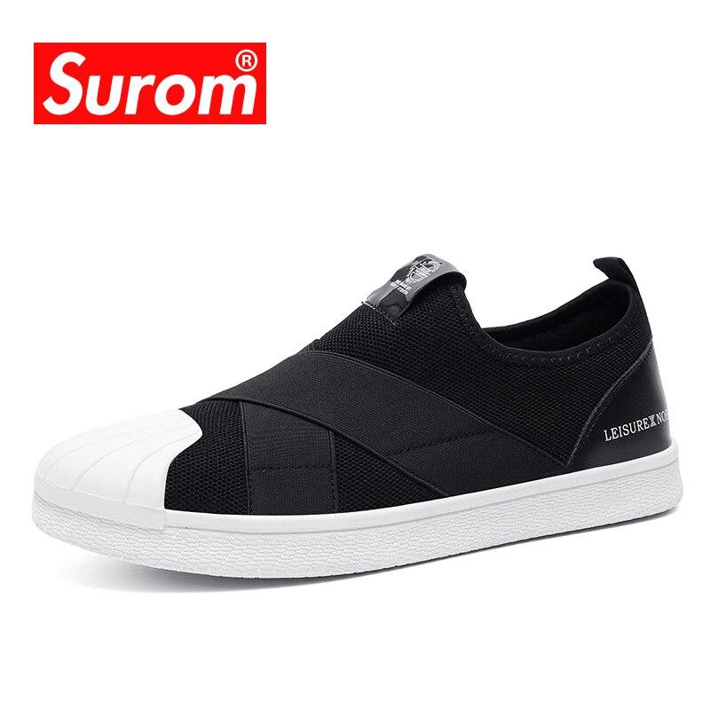 SUROM 2018 Novo Estilo de Sapatos Casuais Masculinos Para Homens Adultos Respirável Deslizamento em Sneakers Marca De Luxo Super Designer de Moda Mens sapatos