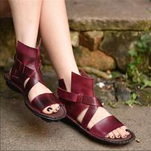 2016 new arrival fashion open toe women sandals cattle genuine leather handmade flat brief casual women shoes 6002L