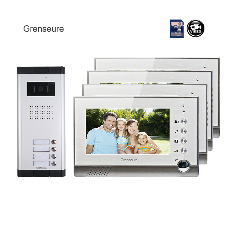 Fress Shipping 7 Color Video Door Phone Intercom System + 4 Recorder Screen + 1 Door Intercom Camera for 4 Apartment In Stock new 4 3 video intercom apartment door phone system 2 hand held monitors 1 door camera for 2 household in stock free shipping