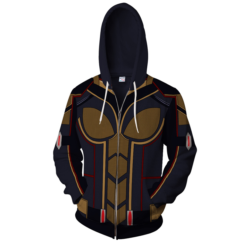 2018 Ant man and the wasp Hoodie Sweatshirt wasp 3d muscle printed Jacket men women slim Hoodies Zipper Outerwear Top xxs-4xl