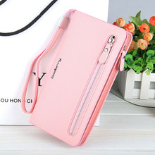 Купить с кэшбэком Wallet Women's multi color Double Zippers Purse Female Wallets card bits iphone Handy Bags Pocket Women Wallets clutchs