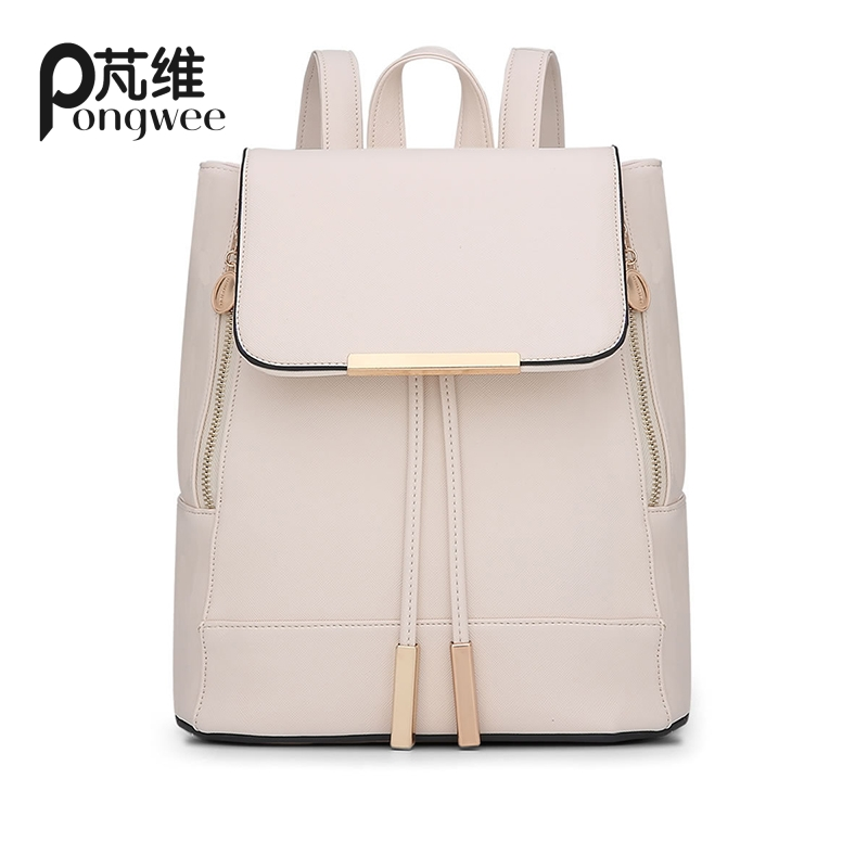 PONGWEE New Women Drawstring Backpack Fashion School Lady Casual Print Backpack High Quality PU Leather School Bag