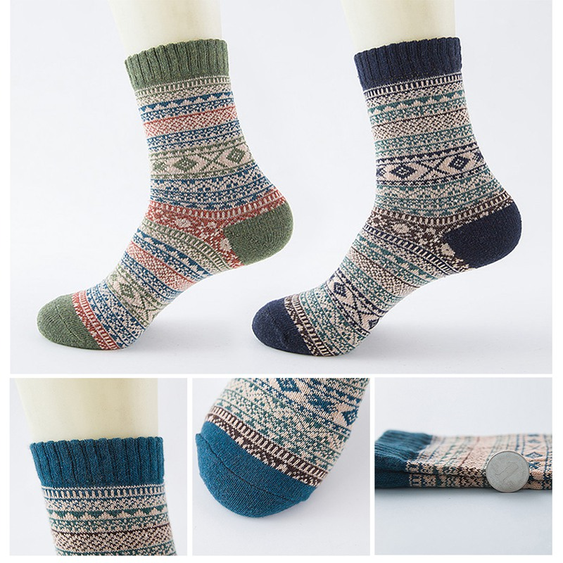 Winter Thick Warm Stripe Wool Socks Casual Calcetines Hombre Sock Business Male Socks