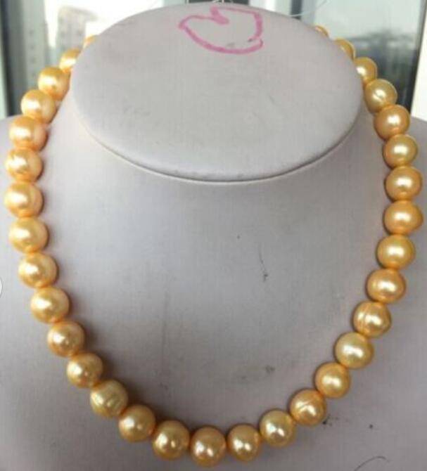 Charmant collier de perles jaunes de la mer du sud australienne 11-12 MM 18