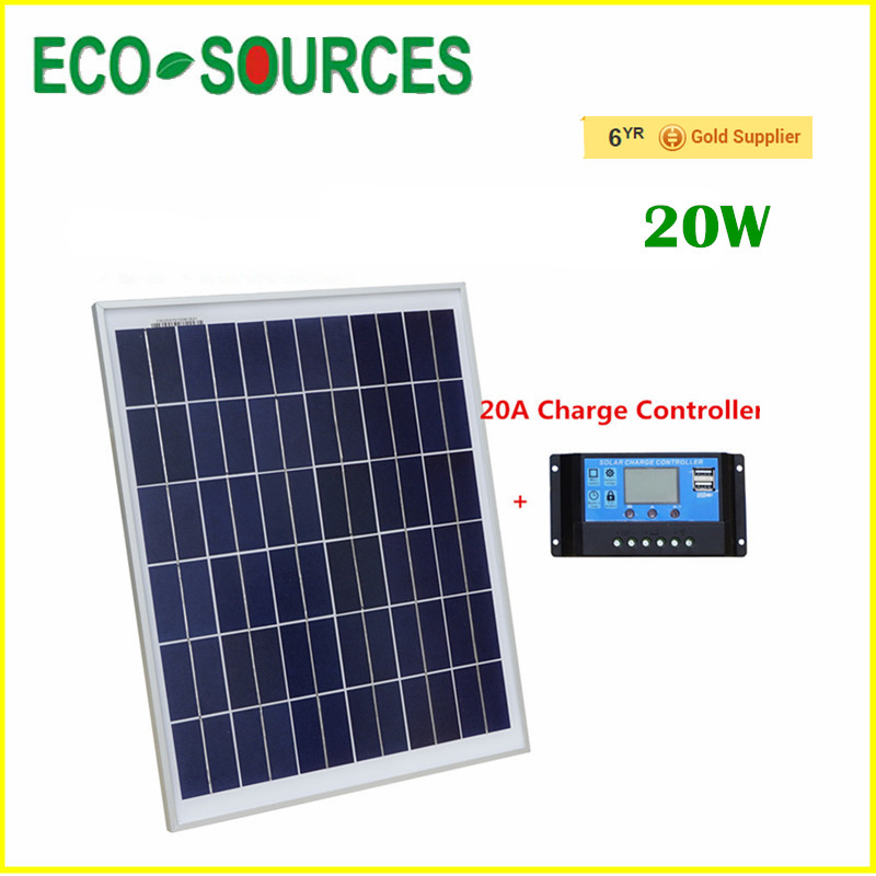 ФОТО 20A 12V/24V PWM solar charge controller can be used for charging the lead acid battery with 20W 12V Solar panel