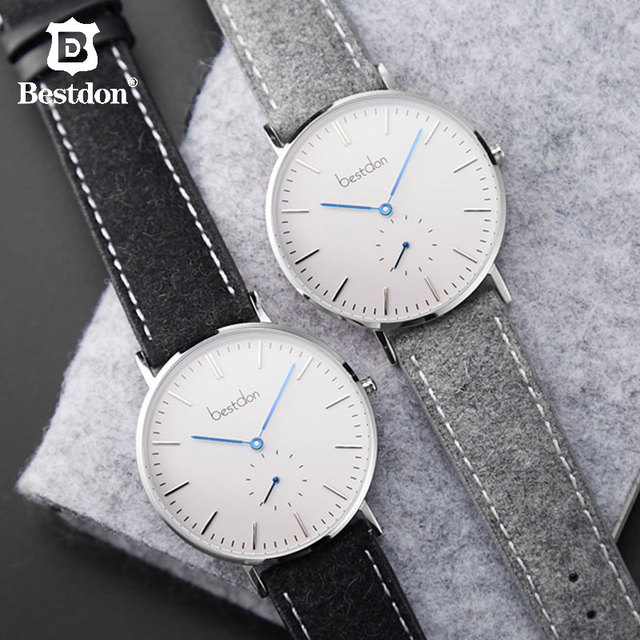 Bestdon Couple Watch Ultra Slim Fashion Casual Clock Quartz Movement Parnis Trending Style Leather Strap Gift For Lovers Brand