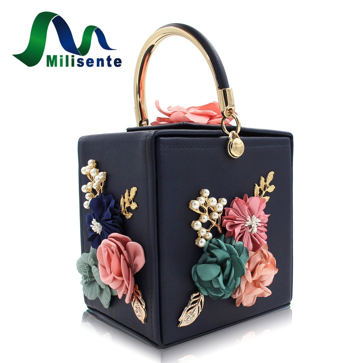 Milisente Brand Women Flower Wedding Party Clutch Purse Ladies Evening Bag  Royal Blue Day Clutches With Pearl Chain - www.elgoncart.com 0763a5a79deb