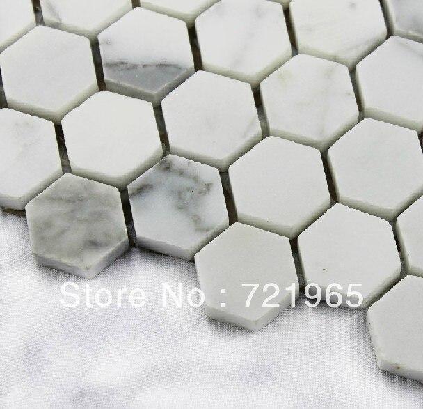 Marbre Blanc Carrelage Mosaïque D Pierre Dosseret De Cuisine - Carrelage hexagonal blanc