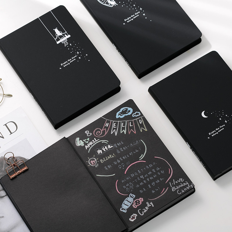 Cute Notebook Diary Black Paper Notepad Sketch Graffiti Notebook for Drawing Painting Office School Stationery Gifts cartoon my world minecraft note book cute anime kraft paper notebook for school writing sketch painting diary planner notepad