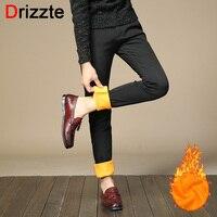 Drizzte Mens Stretch Sacks Pants Winter Warm Fleece Slim Fit Dress Pants Flannel Lined Black Blue