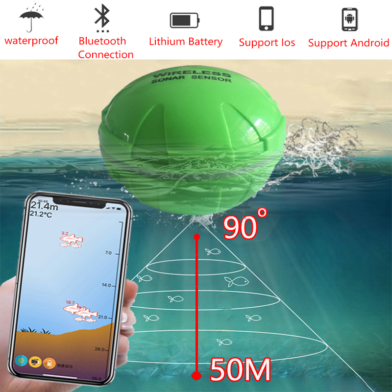 Portable Fish Finder Bluetooth Wireless Echo Sounder Sonar Sensor Depth Fishfinder for Lake Sea Fishing IOS& Android