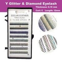 Glitter Diamond Y Eyelash Extension Mink False Eyelash 0 15 Thickness 12MM C Curl Free Shipping