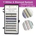 Glitter Diamond Y Eyelash Extension Mink False Eyelash 0.15 Thickness 12MM C Curl Free Shipping
