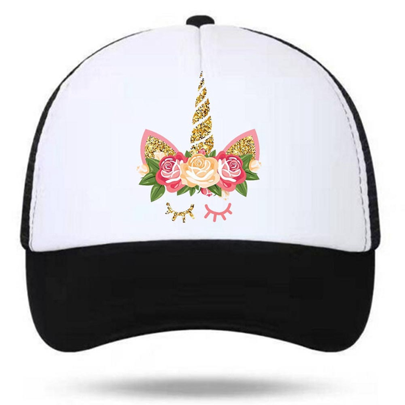 2018 Unicorn Girl Women Pink Summer Cool Caps Mesh Net New Young Girls Pink Luck Cool Net Hat Caps Summer