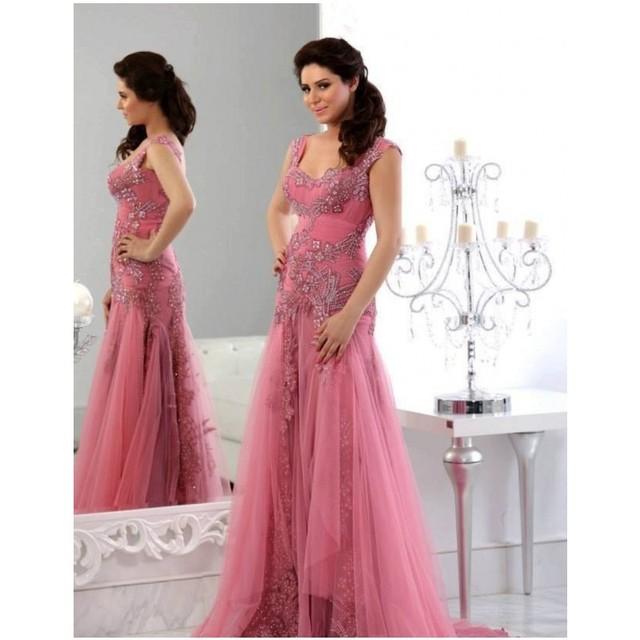 Elegante barato vestidos largos por la noche 2016 Abayas Dubai Tulle ...