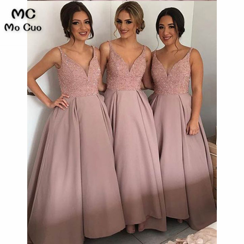 Amazing 2017 Fashion New Bridesmaid Dresses With Beads Sequined Floor Length Maid Of Honor Long Bridesmaid Dress For Women