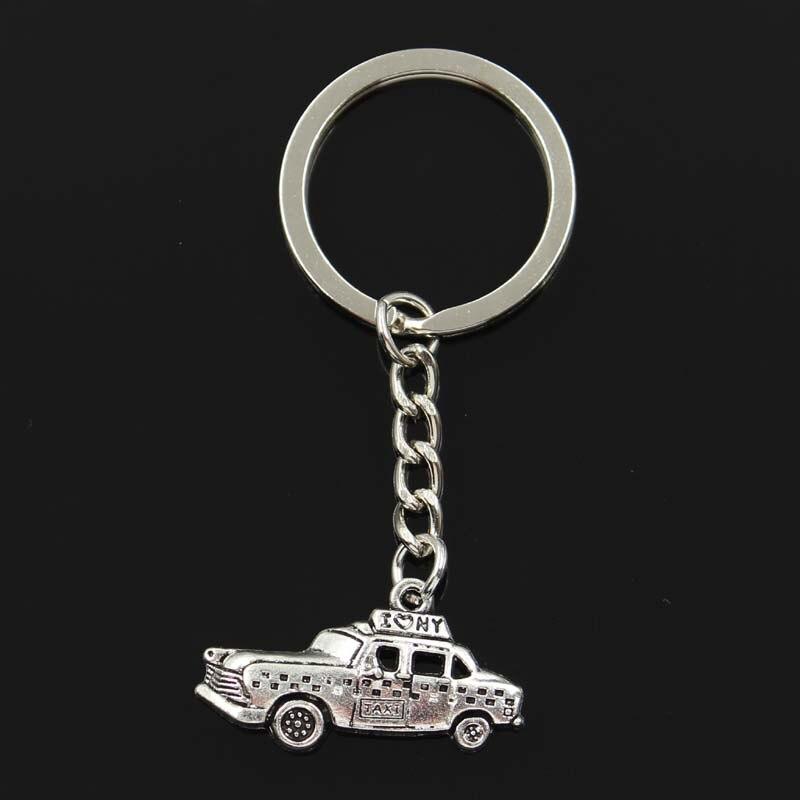 Fashion New York Taxi Car 18x32mm Pendant 30mm Key Ring Metal Chain Silver Men Car Gift Souvenirs Keychain Dropshipping