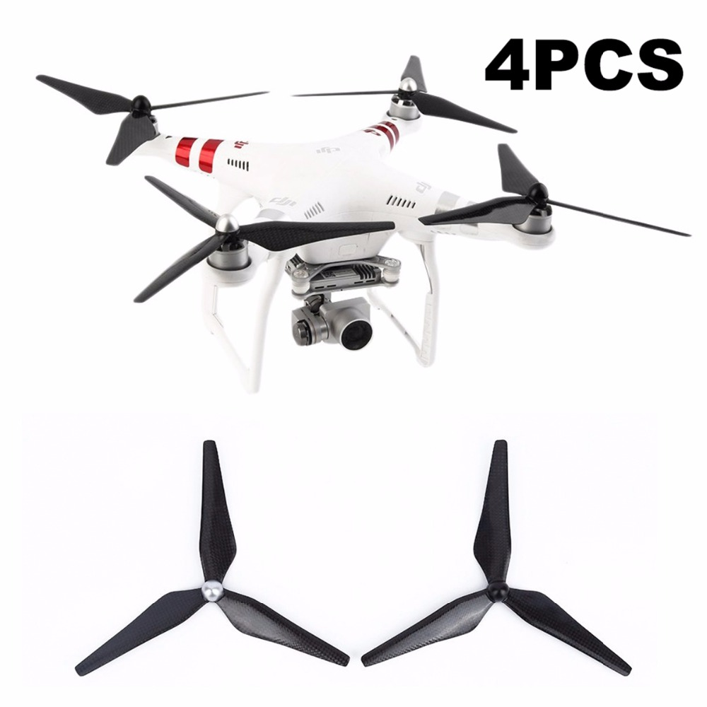 4pcs 9450 Carbon Fiber Propeller Self-tighten 3 Blade Props for DJI Phantom 3 Standard Advanced Professional Drone Spare Parts