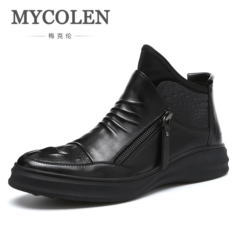 MYCOLEN New Arrivals Men Boot Shoes Fashion Casual Boots Autumn Leather Footwear Man High Top Black Men Shoes Bottes Homme