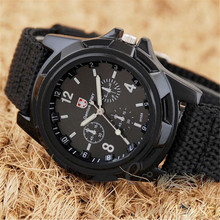 2016 Fashion Luxury Brand Military Watch Men Quartz Analog Clock Leather Canvas Watch Man Sports Watches Army montre femme cuir
