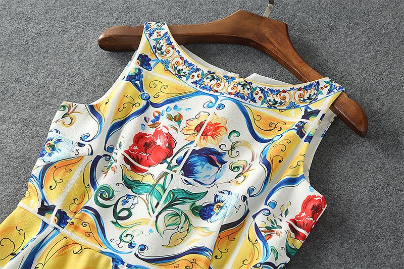 人気 シチリアファッション女性の服高品質バックボタン女性のヨーロッパ 夏のトーテムプリント古代の方法を復元ドレス 2017 4