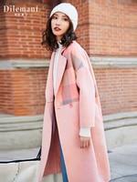 Wool Coat Women Winter Plaid Blends Female Woolen Jacket Women's Fashion Autumn Coats Lady Thicken Warm Outwear 2019 New PINK